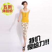 Summer 2014 women's print trousers elastic pencil pants slim knee length trousers