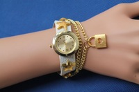 Freeshipping50pc/lot new model chain punk style PU leather band heart lock fashion watch,quartz movement gold color plating head