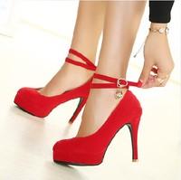2014 high-heeled red rhinestone wedding shoes red bridal shoes platform thin heels single shoes wedding shoes