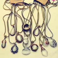 10pcs/lot Vintage Delicate  Rhinestone Mosaic Opal Short Necklaces Women 2014,Free Shipping#NE013