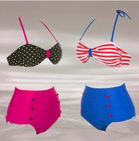 Free Shipping Drop ship New HIGH WAISTED Bikini ladies swimwear women's tankini suits cheap sexy swimsuits