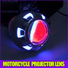 HID Bi Xenon projector lens headlight kit for motorcycle motorbike universal bulb shroud Green Angel eye
