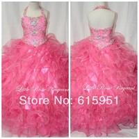 2014 New Arrival Hot Pink Halter Neckline Beaded Little Girls Pageant Dress Ruffles Organza Girls Formal Pageant Gown FD014