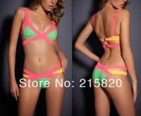 White/red/green high waisted two piece swimsuit bandage bikini sexy swimwear for women  2014
