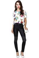 Women T-Shirt  New 2014 Dew Backs Chiffon Printed Short-Sleeved T-Shirts Plus Size T Shirt HDY-30