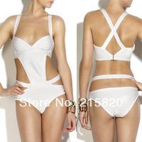 2014 New fashion sexy women swimwear one piece bandage swimsuit black/white wholesale