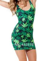 Women mini  Dress Ganja  Mary Jane Cannabis Marijuana Leaf  Sleeveless tank Dress S M L XL