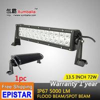 Free shipping 13.5 inch 72w Epistar led light bar flood spot led work light bar driving lights for offroad 4x4 truck ATV