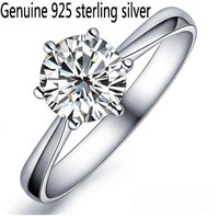 Luxurious Wholesale Genuine 925 sterling silver rhinestone fashion ring wedding jewelry for women 7F014