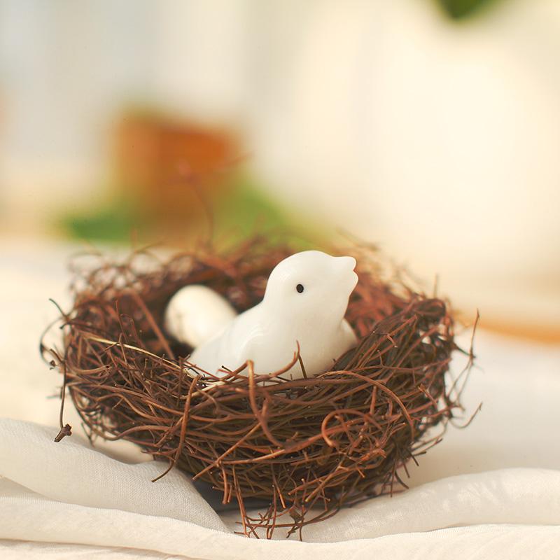 Zakka mini oakum rattan bird nest home decoration photo props(China (Mainland))