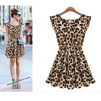 Free Shipping!! New 2014 Women One Piece Summer Dress Leopard Print Casual Microfiber Sundress Big size M L XL