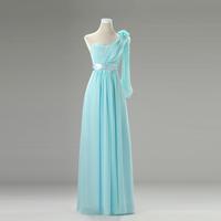 Cheap Long Short Sky Blue Azure Champagne Bridesmaid Dresses 2014 Wedding Party Dress Prom Under $50