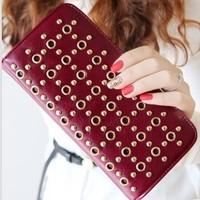 Pardustrade Fashion cutout purse  2014 rivet wallet women's zipper design wallet korea fashion wallet woman's purse