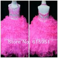2014 Shinning Halter Neckline Beaded Pleated Ruffles Flower Girls Dress Long Hot Pink Organza Little Girls Pageant Dress FD019