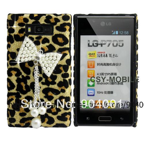 Luxury Bow Leopard leather Skin Hard Back case for LG Optimus L7 bling diamond case for girls(China (Mainland))