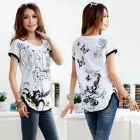 L-XXXL,2014 Summer New Arrivals Plus Size Loose Women'S T-Shirts,Cotton O-Neck Slim Tops For Women,Fashion Woman Clothes,Hotting