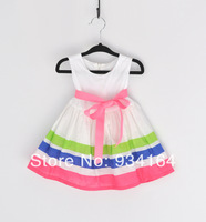 2014 new striped belt dress, sleeveless princess dress for girls .Pink Stripe Belt Dress
