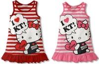 5Pcs/Lot New 2014 Baby Girls Hello Kitty  Dress Girl Red Pink Summer Stripe KT Cat Dress Girl's Casual Sleeveless Dress
