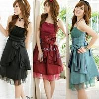 2014 Korean Women's Silk Summer Sexy Party Club Big bowknot Evening Dress free shipping 5316