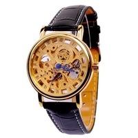 Free Shipping 2014 Men Leather Strap Mechanical Hand Wind Watches Vintage Rose Gold Skeleton Roman Blue Analog Relogio Masculino