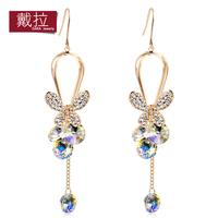 Charm Czech Rhinestone Tassel Drop Earrings Fashion Jewelry European Style Gift Wholesale Jewelry TE384