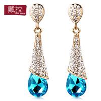 Latest Style Fashion Crystal Earrings For Women Jewelry Silver Water Drop Blue Topaz Crystal Stud Earrings TE143