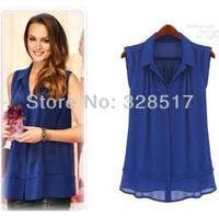 2014 new fashion chiffon shirt women's summer casual blouse shirt turn-down collar sleeveless double layer tops white blue