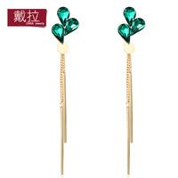 Fashion crystal green no pierced long tassel drop earring elegant accessories for women TE157