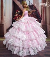 Free Shipping Handmade Pink dress Gown for Barbie Doll