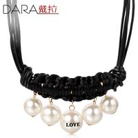 Fashion necklace chain accessories ribbon short design pearl gem luxurious necklace 2014 women Wholesale TN207