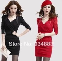 2014 Fashion Autumn Women's Long-sleeve Slim Dress V-neck Sexy Elegant Hip Slim One-piece Dresses Party Club Skirt Free Shipping