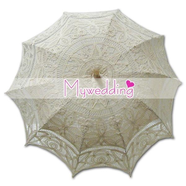 Free shipping , Hot Selling Cotton Lace Parasol Umbrella Wedding Bridal(China (Mainland))