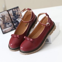 free shipping Hasp vintage bow flat heel single shoes women shoes round toe girls' shoes flat cute small PU leather shoes
