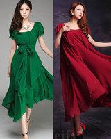 Summre dress 2014 Slim chiffon dress o-neck dress irregular  Bohemian dress women