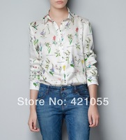 2014 new fashion women shirt  chiffon blouse  long-sleeve  print  plus size  S-L  free shipping