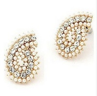 Women B188 fashion jewelry, imitation diamond pearl earring style wholesale free shipping