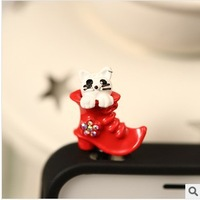 Min.order is $ 10 (Mix order) Free Shipping new 2014 cute little shoes dust plug phone accessories earphone jack plug anti dust