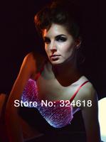 Creative LED flashing Bra Sexy LED luminous Bra Ballroom costume micro fiber light-up bra kinds of colors shining Bra