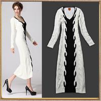 Fashion one-piece dress full dress knitted sweater dress slim white wool long design basic full dress