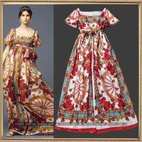 Fashion spring and summer women's elegant square collar print expansion bottom full dress elegant resort