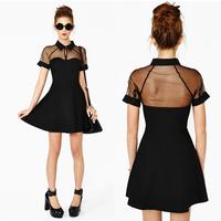 2014 Spring Summer Sexy Cutout Sheer Mesh Short Sleeve Skater Mini Dress For Femal Girl In Black Plus Size S-XL 579507