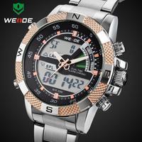 2014 WEIDE Original Men's LED Luminous Watch Digital Dual Time Analog Display Date Week Alarm 3ATM Stainless Steel Wristwatch