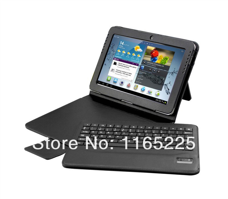 Good Leather Stand Split Case for Samsung Galaxy Tab 2 10.1 P5100 with DETACHABLE Bluetooth Keyboard,Free shipp+Stylus+Film(China (Mainland))