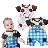 New Arriving baby's summer cotton material jumpsuits,New borning baby cute pattern rompers,Free Shipping,2 Color+3 size