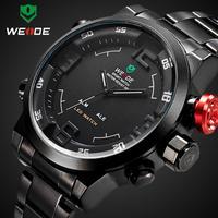 New 2014 WEIDE Men Business Stainless Steel Wrist Watch Sports Military Quartz Wristwatch 3ATM Dual Time LED Digital Display