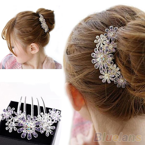Full Colors Crystal Rhinestone Petal Tuck Comb Women Flower Hair Pin Hair Clip Headwear Accessories 1NWC(China (Mainland))