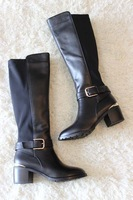 Vsv 2013 full genuine leather elastic tall boots high-leg boots comfortable boots with boots