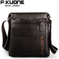 P.kuone 2014 New Designer Fashion Male Genuine Leather Messenger Bags Cowhide Shoulder Man bag Casual Bags For Men