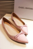Vsv2013 sweet genuine leather flat full of small bow pointed toe flat heel single shoes female