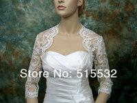 High Quality White/ Ivory Lace Applique Custom Made Plus Size Wedding Bridal Wrap Shawl Bolero Bridal Jacket Half Sleeve